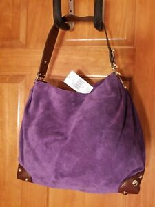 New Michael Kors Joplin Iris purple large leather shoulder bag NWT
