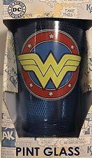 DC COMICS SUPERMAN WONDER WOMAN 16 PINT GLASS GLASS
