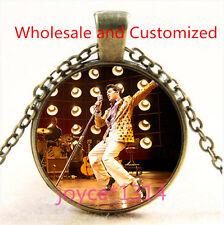 Vintage Elvis Presley Cabochon bronze Glass Chain Pendant Necklace TS-4927