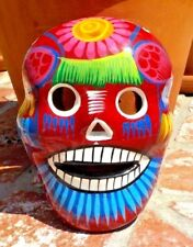 SMALL DAY OF THE DEAD CERAMIC CLAY SKULL MASK HAND MADE IN MEXICO FREE SHIPPING