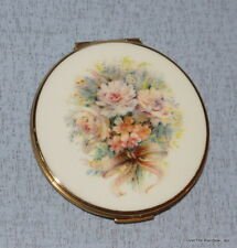 New listing Round Stratton England Gold Double Mirror Compact Enamel Floral Bouquet