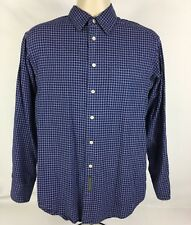 Banana Republic LS 1 Pocket Button Up Dress Shirt Blue/White Check Size Small