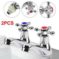 2 Taps Twin Hot Cold Pair Tap Traditional Bath Bathroom Basin Sink Chrome Luxury