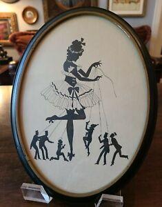 Antique Silhouette Style OVAL Framed BALLERINA~PUPPET Strings~FULL BODY❤ 12 x 9