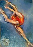 Original art aceo,oil/,aceo,russian classical ballet dance jete,impressionism
