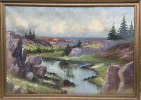 Rocky Coastal Landscape Signed Oil Painting Scandinavia 75 X 105 CM Kunø
