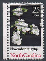 USA Briefmarke gestempelt 25c November 21 1789 North Carolina Seitenrand / 171