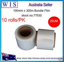 "10/PK 100mm x300m 20um Clear Bundling Film Hand Stretch Film,76mm(3"") Core-77530"