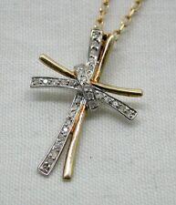 Beautiful Stylish Two Colour 9 carat Gold And Diamond Fancy Cross Pendant