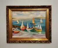 French Impressionist Style ORIGINAL Marine OIL PAINTING on Board Vintage Picture