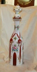 Czech Bohemian Cranberry Cased to White Glass LARGE DECANTER & Stopper LOT 4358
