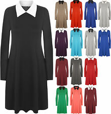 Long Sleeve No Pattern Collared Regular Dresses for Women