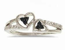 Sterling Silver Black Diamond Ring .925 Dual Heart Diamond Band .21ct SALE