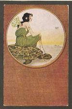 POSTCARD BY RAPHAEL KIRCHNER:  PRETTY LADY SITTING ON TURTLE / TORTOISE - Unused