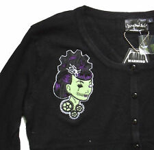 BLACK & GREEN STEAMPUNK COGS GIRL EMBROIDERED CARDIGAN PSYCHOBILLY S M KNITTED