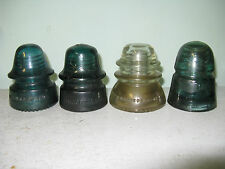 4 Vintage Antique Glass Insulators Railroad Electric Telephone Power Line Pole B