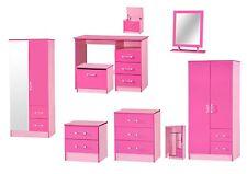Marina Pink High Gloss Bedroom Furniture Sets Wardrobe Drawers Bedside Desk