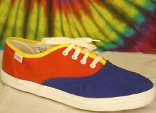 7.5 vtg 80s primary colors ESPIRIT canvas sneakers tennis shoes red blue yellow