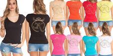 T-shirt maglietta donna logo strass borchie schiena fiocco manica corta nuova