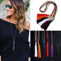 Fashion Tassel Silk Glass Beads Crystal Pendant Necklace Long Ladies Jewelry New