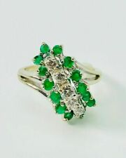 14K White Gold Diamond & Emerald Waterfall Size 6 Ring .90TCW