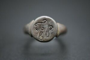 Medieval period bronze finger ring with monogram 13th - 15th century AD