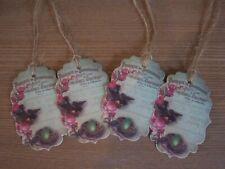 Shabby Chic Enterrement Vie Jeune Fille Jaune Autocollant Étiquettes pour sac de fête Sweet Cônes