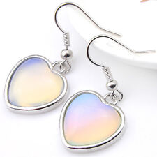 Love Heart Shaped Rainbow Fire Moonstone Gems Silver Dangle Hook Earrings Gift
