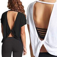 NEW Women RACER BACK Tank Top Short Sleeve Open Back Shirt Yoga Gym Workout X542