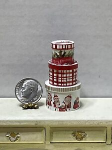 CHRISTMAS In JULY!! Artisan Stackable Round Box Set Dollhouse Miniature 1:12