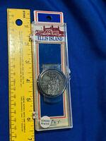 NOS Vintage Ellis Island Pewter Money Clip Fort in Case New York VTG Souvenir