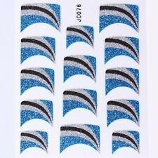 Nail Art Decal Stickers Glitter Nail Tips Blue Silver Black Wedges Lines JC076