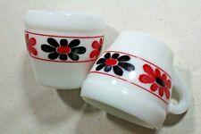 Cerve ESPRESSO Cups Pair 2 WHITE Milk Glass RED BLACK Flowers 2.5 oz ITALY