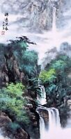 ORIENTAL ASIAN ART CHINESE FAMOUS SANSUI WATERCOLOR PAINTING-Mountains scenery