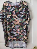 LulaRoe Irma Tunic Blouse Medium New With Tags Navy Blue Pink White Teal Paisley