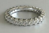 2.5ct Round Cut VVS1 Diamond Eternity Wedding Ring Band 14k White Gold Over
