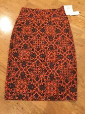 NWT LuLaRoe Cassie Pencil Skirt Size XS Rust/Orange & Navy
