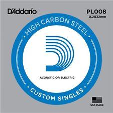 D 'Addario PL008 de una sola cadena de Acero para Guitarra Acústica Eléctrica Calibre 8