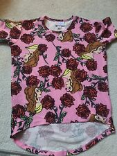 Lularoe Disney Belle Gracie Size 4 Kids Irma Red Roses Pink NWOT