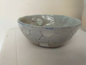 UNUSUAL...STONEWARE BOWL..PARTIAL GLAZED..STUDIO..?..INITIALS TO BASE..COUNTRY