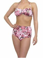 VINTAGE RETRO HIGH WAISTED BIKINI SETS BRIEF & TOP URBAN OUTFITTERS BLOOM PINK