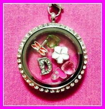 LETTER CHARM STEEL FLOATING SILVER LOCKET RHINESTONE NECKLACE ANY LETTER
