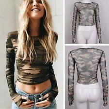 Women Camouflage O-neck Military Camo Blouse Long Sleeve Crop Tops Tee T-shirt J