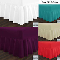 "TOP Quality Base Frilled Valance Fitted Sheets,ALL Sizes for 9"" to 16"" depth"