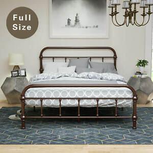 Full Size Metal Heavy Duty Bed Frame Platform Steel Slats w/ Headboard Footboard