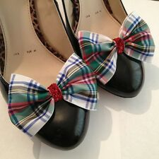 Plaid Shoe Clips 4 Shoes Dress Stewart Tartan Bows Pinup Vintage Retro Burlesque