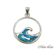 925 Sterling Silver Rhodium Hawaiian 20mm Ocean Wave Blue Opal Pendant Charm