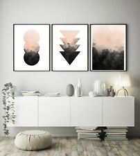 Set of 3 Nude Black Watercolour Abstract Home Poster Print Black Dec Wall Art