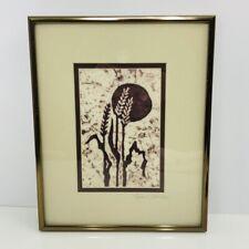 Batik Wax Resist Fiber Art Wheat Grass Sun Paper Framed Signed Elizabeth Abul
