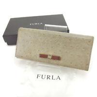 Furla Wallet Purse Long Wallet Grey Brown Woman Authentic Used Y3840